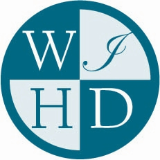 Letters W I H D in teal, round