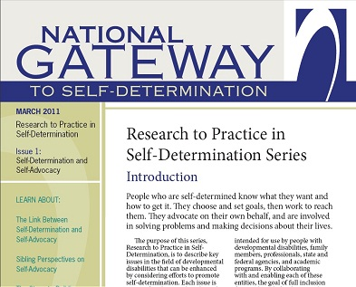 Cover image of Research to Practice in Self-Determination - Issue 1
