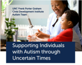 woman playing with a little boy that reads supporting individuals with autism through uncertain times
