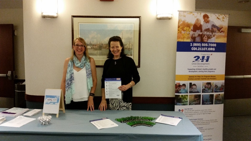 Grace Grinnell from ASRC (l) and Eileen McMurrer from CT-OEC (r) shared information at the Connecticut Children's Medical Center Family Symposium, June 17, 2017 in Hartford, CT