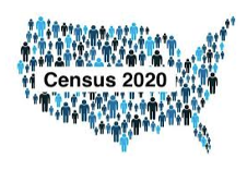 icons of blue people in shape of the United States with words 'Census 2020' in the middle