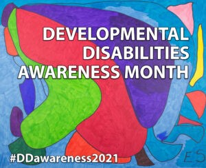 Developmental Disabilities Awareness Month with colorful background