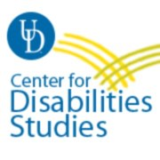 Text reads: UD Center for Disabilities Studies. On top left, three yellow lines intersect with three more yellow lines and form a