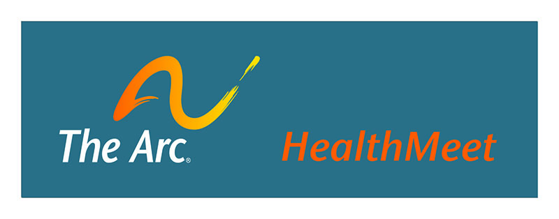 Text reads: The Arc HealthMeet. Wavy line over the words, The Arc.
