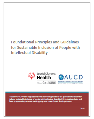 image of document cover saying Foundational Principles for Sustainable Inclusion of People with Intellectual Disability
