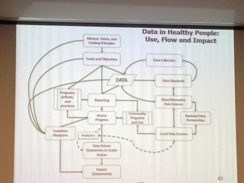 Photo caption: This slide on data use, flow, and impact was shown during the September Committee discussion. How messy public health data really is!