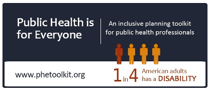PHEtoolkit logo with image of 1 red and 3 orange stick figures to show 1 in 4 American adults in your community have a disability