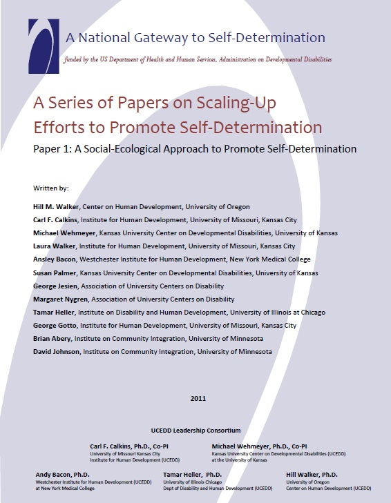 A Series of Papers on Scaling-Up Efforts to Promote Self-Determination - Paper 1