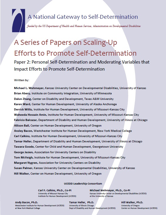 A Series of Papers on Scaling-Up Efforts to Promote Self-Determination - Paper 2