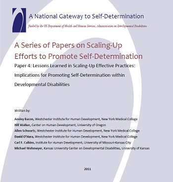A Series of Papers on Scaling-Up Efforts to Promote Self-Determination - Paper 4