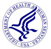 seal for Department of Health and Human Services, blue and white