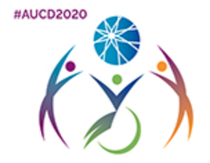AUCD Conference logo - outline of two people standing and one person in wheelchair holding up blue ball, all rainbow