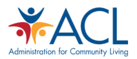logo for Administration for Community Living; three people in a circle, red, blue, and yellow, next to the blue letters ACL. Administration for community Living in blue underneath