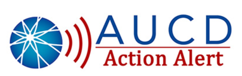 AUCD logo that is a blue circle with lines, red lines radiating from the circle. uppercase letters AUCD in blue above red letters Action Alert