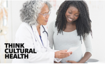 A doctor that is a black woman reading a paper to a pregnant, black patient with long curly hair