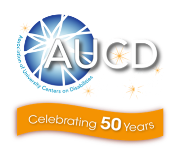 AUCD globe with stars around it and banner below the reads celebrating 50 years