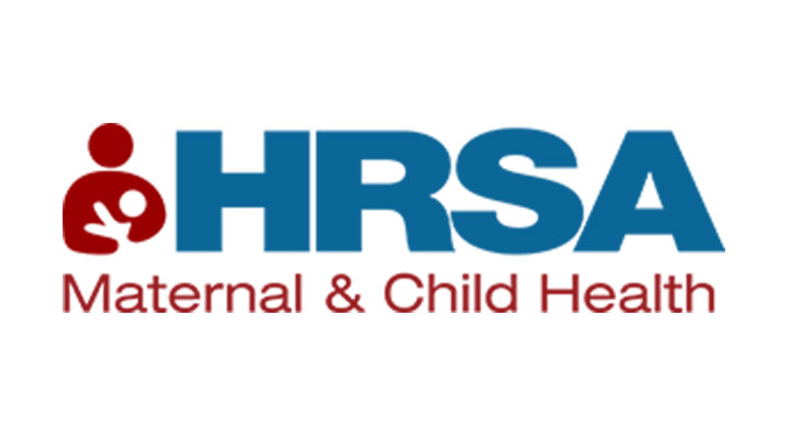 Maternal and Child Health Bureau logo: HRSA in blue letters and name of bureau in red. outline of woman holding baby in red on the left