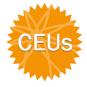 orange badge with letters CEU