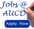 Image of hand with pen writing the words Jobs @ AUCD Apply Now