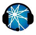 The AUCD ball logo wearing a headset