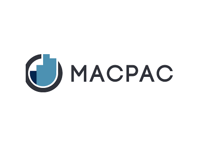 capitalized letters M-A-C-P-A-C next to blue bars in a circle