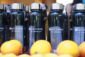 aucdstrong water bottle & fruit