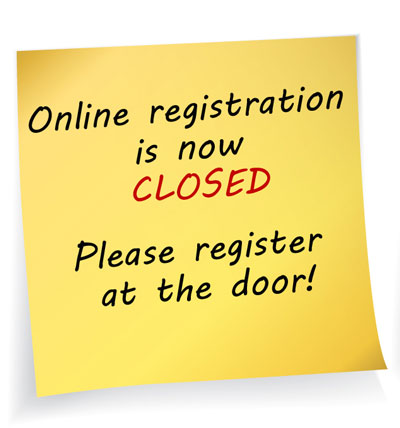 Online registration is closed, register at the door