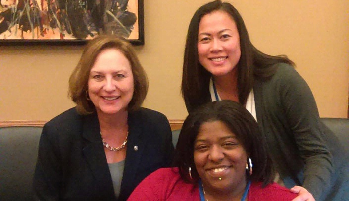 Image with caption: JaToya McIntosh, center, and MMI staffer Annie Pope, right, meet with Nebraska Sen. Deb Fischer, left.  JaToya McIntosh, center, and MMI staffer Annie Pope, right, meet with Nebraska Sen. Deb Fischer, left.