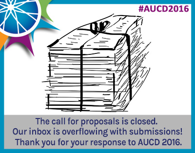 Line drawing of a stack of papers. Text: The call of proposals is closed. Our inbox is overflowing with submissions! Thank you for your response to AUCD 2016.