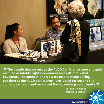 Photo of vendors talking with an attendee. Text: