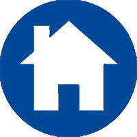 dark blue circle with a house image