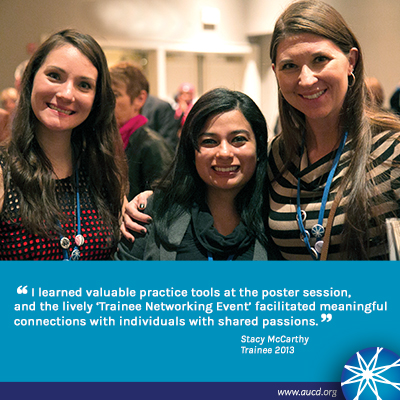 Photo of three young women smiling for the camera. Text: I learned valuable practice tools at the poster session, and the lively 'trainee networking event' facilitated meaningful connections with individuals with shared passions.