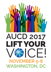Conference logo: multiple colorful raised hands. Text: AUCD 2017 Lift Your Voice