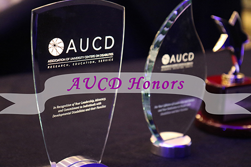 Photo of two awards with a transparent banner in the middle with text that reads AUCD Honors