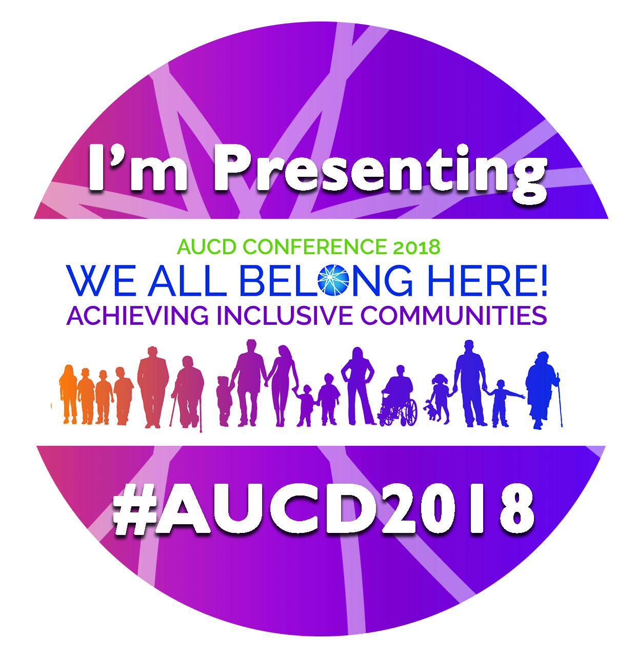 Round purple button says I'm Presenting at AUCD 2018