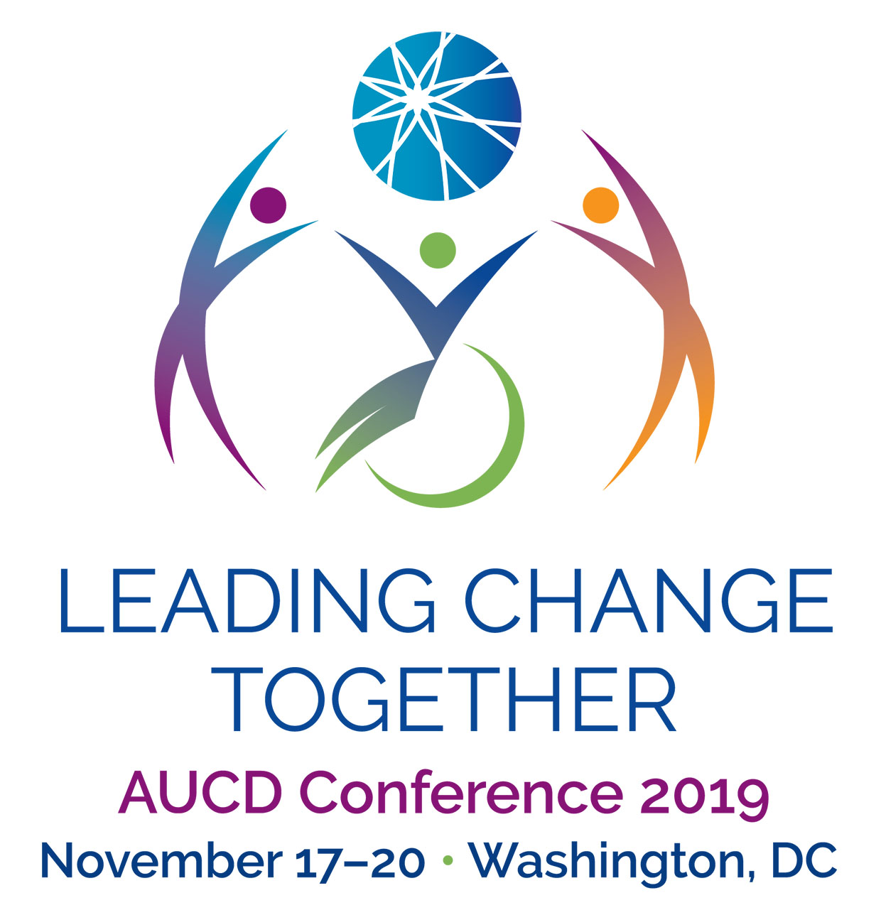 Conference logo: people of different ages, shapes, sizes, genders, & abilities are colored orange to purple to blue. Text: AUCD Conference 2019. We All Belong Here. Achieving Inclusive Communities. November 11-14, Washington, DC