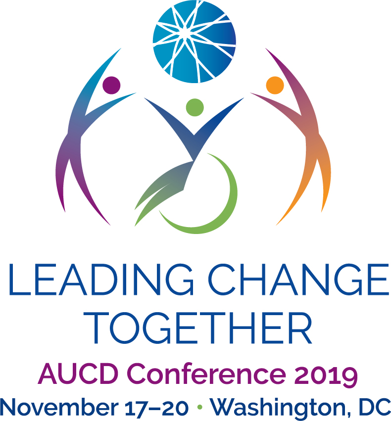 AUCD 2019 Conference logo: The AUCD ball is being held up by 3 abstract figures of people, two standing and one in a wheelchair. Text: Leading Change Together – AUCD Conference 2019 – November 17-20, Washington, DC.
