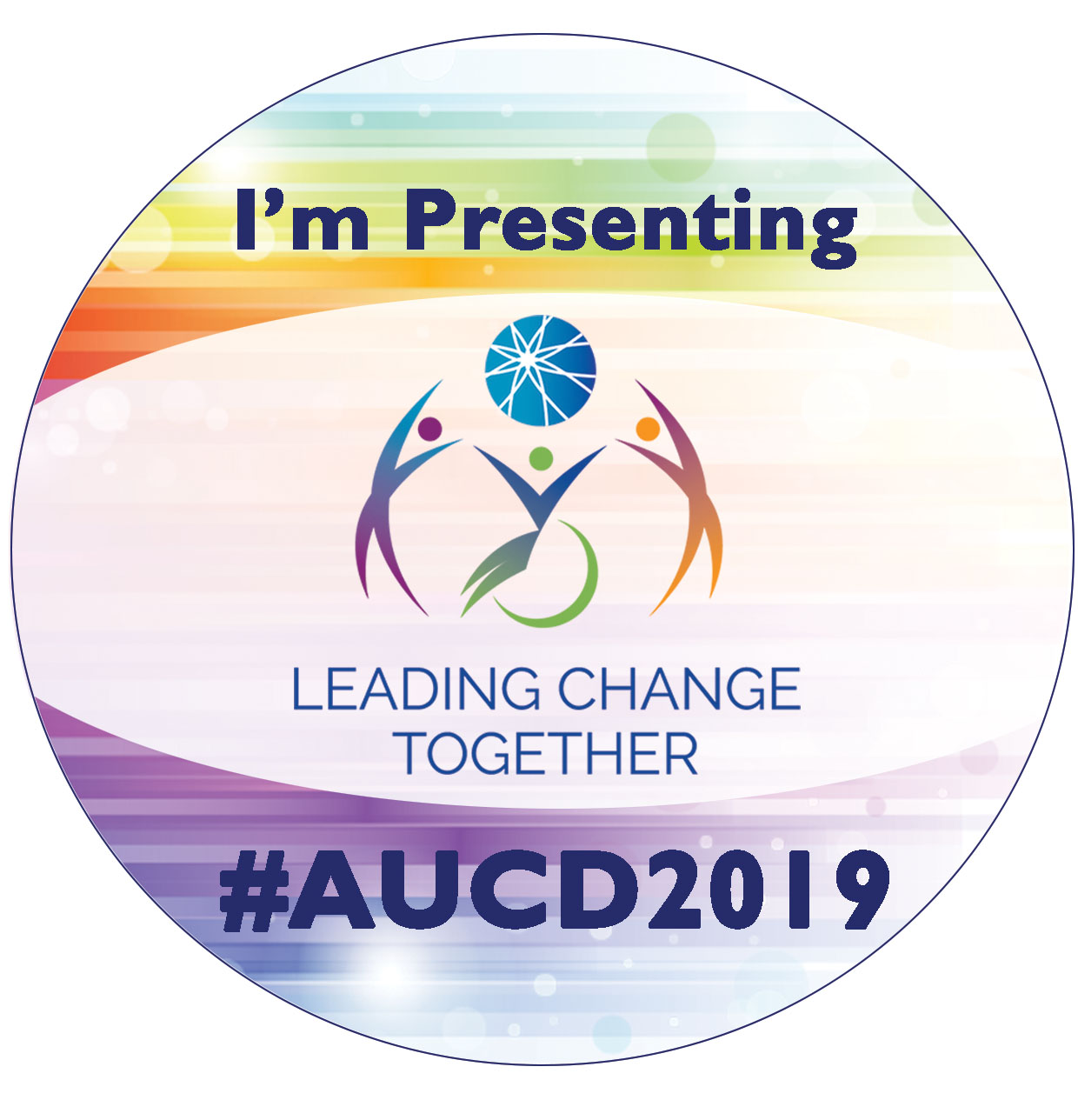 Round purple button says I'm Presenting at AUCD 2019