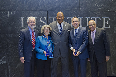 UMass Boston leadership poses with leaders in inclusion From left to right: Dean William Kiernan; Awardee Dorothy Stoneman of YouthBuild; Chancellor J. Keith Motley; Dr. Gary Gottlieb, accepting for awardee Partners In Health; civic activist and 2014 awardee, Hubie Jones.