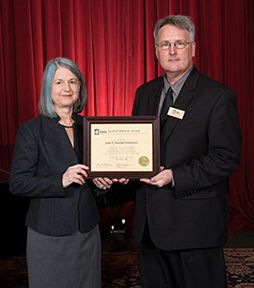 Photo of Award Recipient Jane Harlan-Simmons and Mr. Ray Boomhower, Interim Senior Director of the Indiana Historical Society Press.