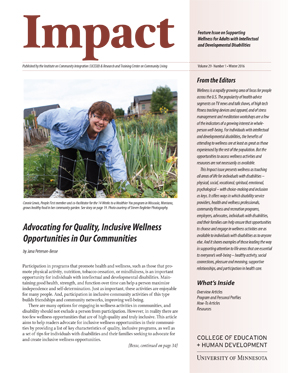 New Resource on Supporting Wellness for Adults with Disabilities (MN UCEDD/LEND)