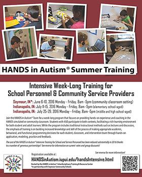 HANDS in Autism Model in Practice: Intensive Weeklong Training for School Personnel & Community Providers (IN UCEDD)
