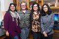 Grad students (L-R) Vineeta Ram & Kathryn B. Duke work on the PRIDE project with researchers Rooshey Hasnain & Mansha Mirza