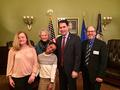 left to right; Brigit and JD Frank, Family Voices of WI and LEND graduate; Elizabeth Hecht, UCEDD; Governor Scott Walker; Dan Idzikowski, Disability Rights Wisconsin