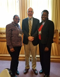 Pictured here are Fellows Chevonne (left) and Ann Marie (right) with Connecticut State Senator Joe Markley.