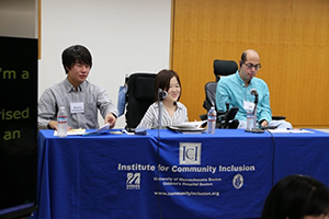 Panelists (L-R) Meguru Kobayashi, BeU Disability Student Support Group; Yui Yuda, Kyoto University; and Mark Bookman, University of Pennsylvania / University of Tokyo; discussing issues in disability self-advocacy and activism in the context of U.S.