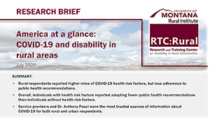 New Research Brief: COVID-19 and disability in rural areas