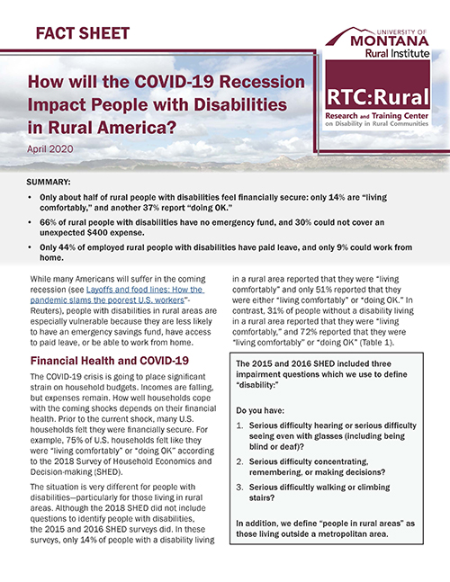 New fact sheet: How will the COVID-19 recession impact people with disabilities in rural America?
