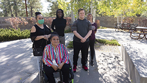 IHD staff member Sakenya McDonald meeting with students Leyevsca Santos Espinoza and Jacob Alexander (and their mothers/guardians) for their monthly coaching sessions at Coconino Community College