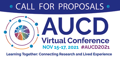 Call for Proposals The AUCD globe with AUCD accent colors inside two circles with the same coloring.
